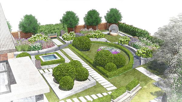 Ландшафтное проектирование сада - Клумбы на газоне