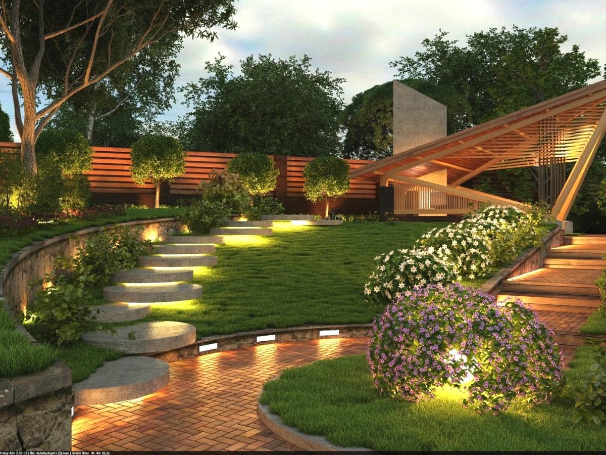 Ландшафтный дизайн загородного дома - Каменная тропинка