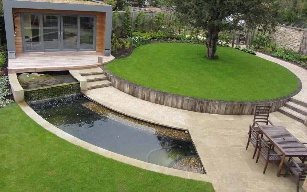 Стиль модерн в ландшафтном дизайне - Беседка у водоема